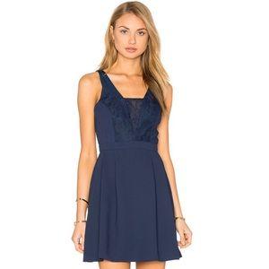 BCBGENERATION Navy Lace Insert Mini Dress 4